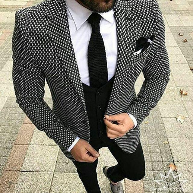 2018 Brand Style Suits Men Black White Floral Pattern Men Suit Slim Fit Groom Tuxedo 3 Piece Custom Prom Blazer Terno Masculino