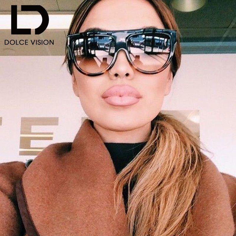 DOLCE VISION haut plat lunettes de soleil pour femmes conception surdimensionné Vintage lunettes de soleil femmes dégradé marque demi-cercle Oculos femme nouveau