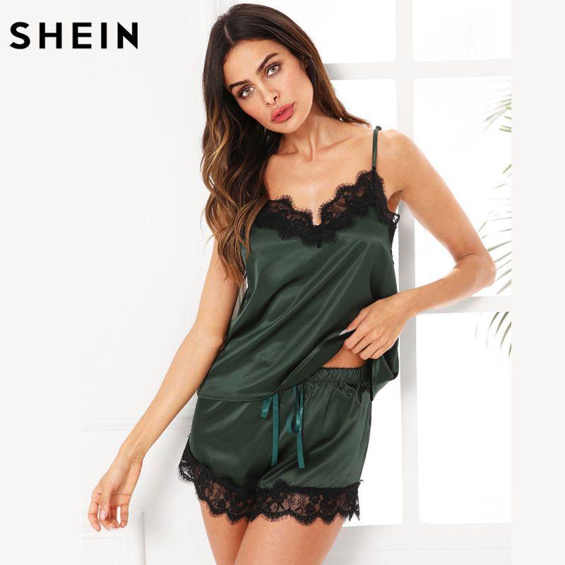 SHEIN Pajama Sets Women Sleepwear Army Green Spaghetti Strap V <font><b>Neck</b></font> Lace Trim Satin Cami and Shorts Pajama Set