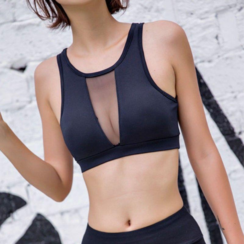 Sport frau fitness bra padded yoga bh shake beweis mesh Workout Gym Sport-Bh Top Draht Kostenlose Push Up Lauf bh