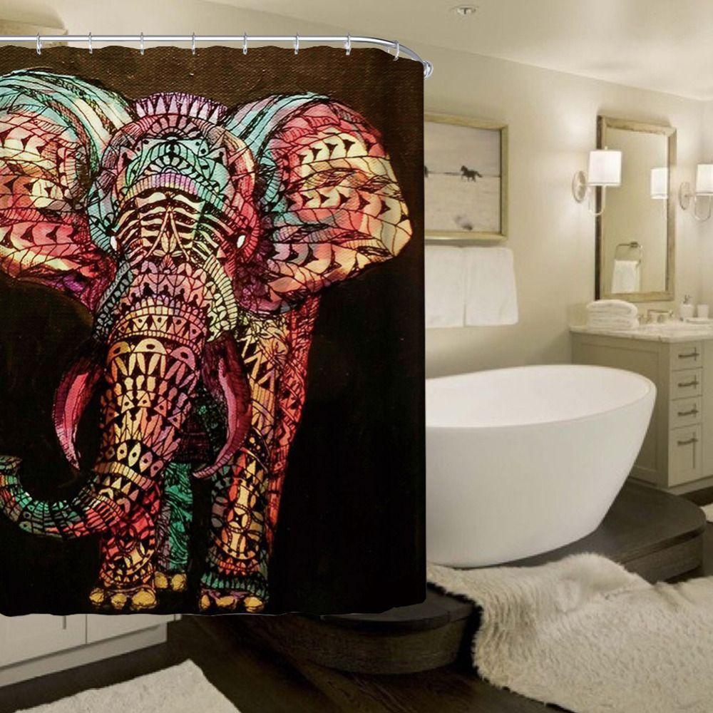 Nouveau Design Coloré Éléphant Étanche Polyester Rideaux De Douche De Bain de Bain Sheer Rideau Décorations pour La Maison