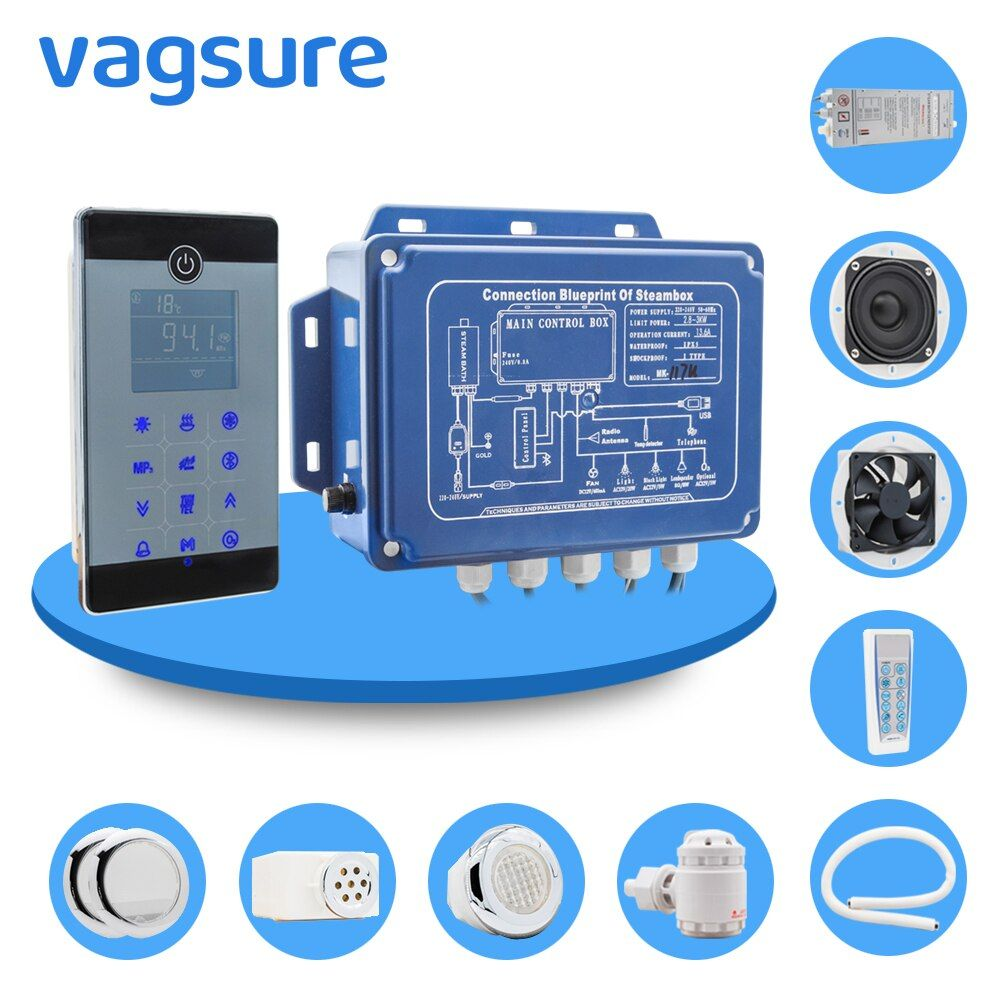 IPX5 Waterproof Wall Mounted Style bluetooth Wet Steam Room Sauna Spa Bath Generator 2.8KW 110V/240V With Shower Controller