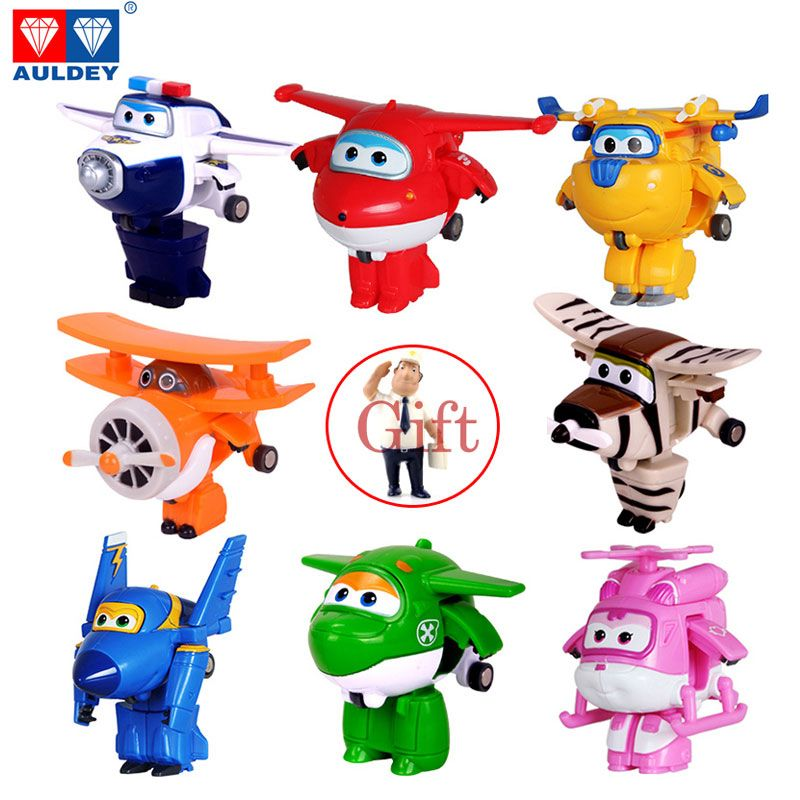 Genuine AULDEY Mini Super Wings Deformation Airplane Robot Toy <font><b>Action</b></font> Figures Super Wing Transformation Toys For Children Gift