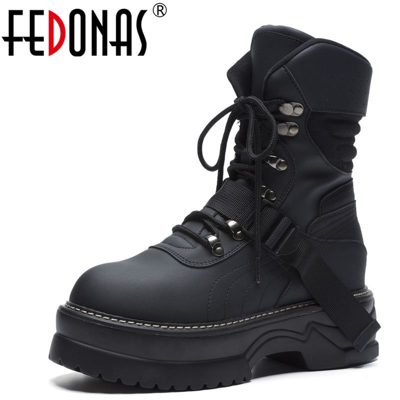 FEDONAS Brand Women Ankle Boots Round Toe Casual Sneakers Autumn Winter Warm Top Quality Shoes Woman Basic Motorcycle Boots