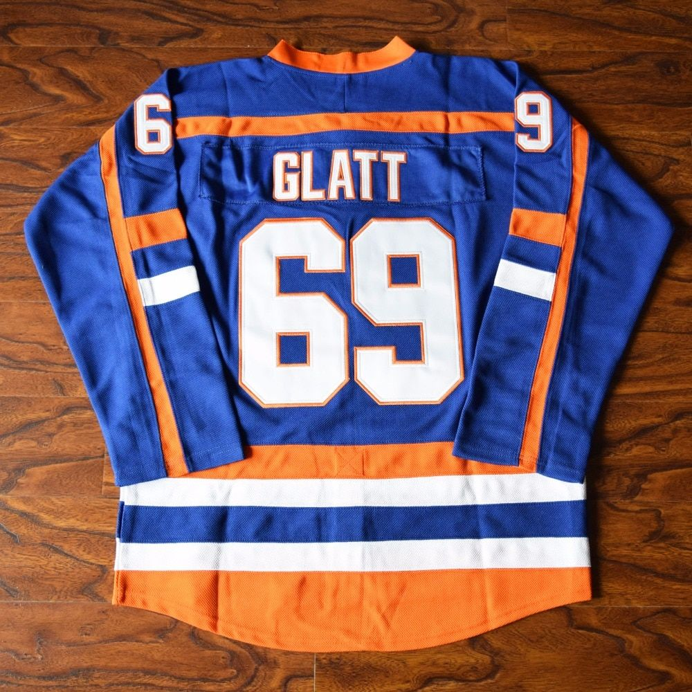 MM MASMIG Doug The Thug Glatt #69 Halifax Highlanders Ice Hockey Jersey Stitched Blue