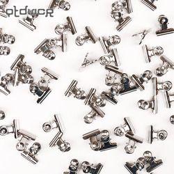 12 Pcs/ensemble Mini Bulldog Clips Lettre Clips En Acier Inoxydable Argent Métal Papier Binder Grip Clips Pince 22mm Bureau Outil fournitures