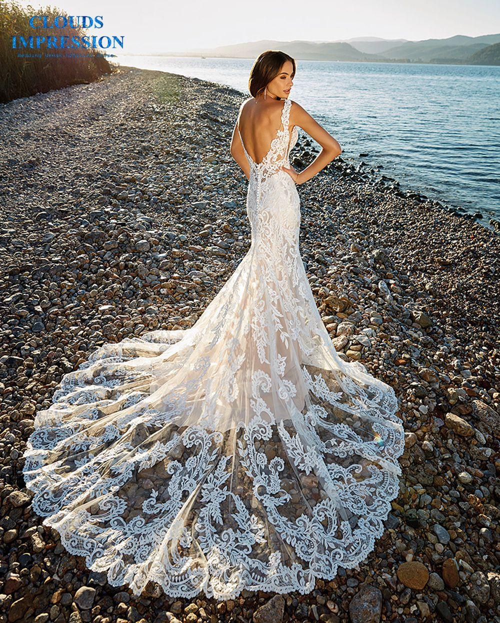 WOLKEN EINDRUCK Romantische Kapelle Zug Meerjungfrau Hochzeit Kleid 2019 V-ausschnitt Friesen Strand Spitze Braut Kleid Vestige De Noiva