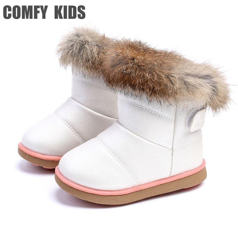 Удобная детская зимняя мода для девочек зимние ботинки теплые плюшевые мягкое дно для маленьких девочек кожаные сапоги зимние теплые сапог...