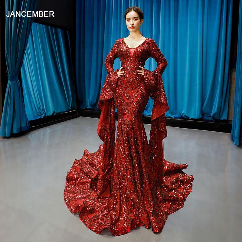 J66740 jancember meerjungfrau prom kleider lange abendkleider v-ausschnitt mit langen ärmeln rot braut abendkleid party abiye gece elbisesi