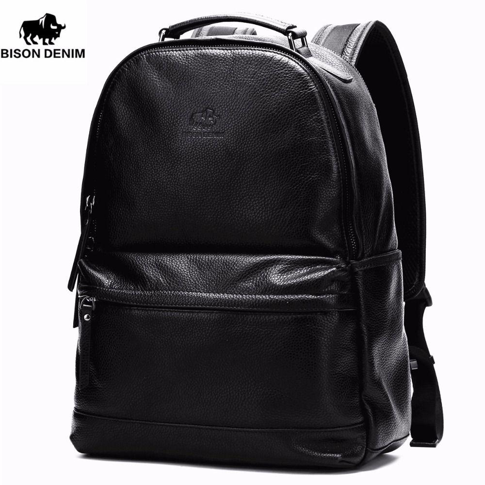 BISON DENIM Genuine Leather Large School Backpack Men Women Laptop Ipad Backpack Travel Backpack School Bags N2421