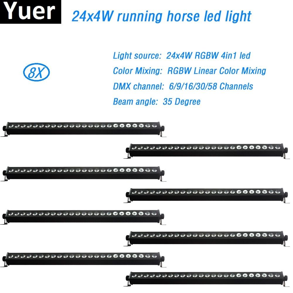 8Pcs/Lot 24x4W RGBW 4in1 Led Flood Light LED Wall Wash Linear Bar Running Horse Effect Stage dj disco light Color Mixing dmx512