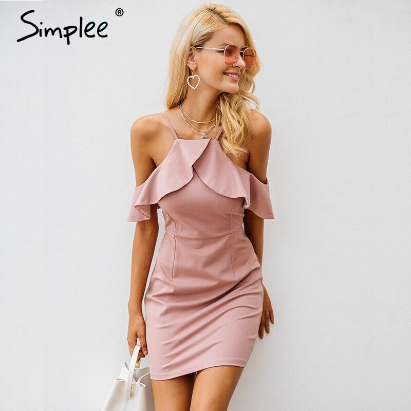 Simplee Strap cold shoulder ruffle winter dress women Sexy backless split bodycon dress Christmas elegant party dresses vestidos