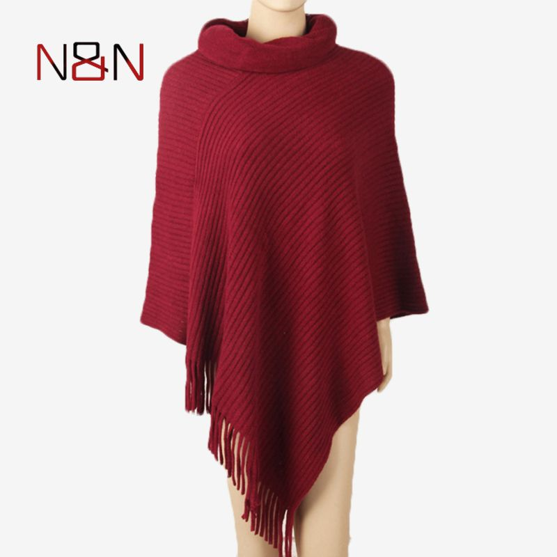 Winter Turtleneck Knitted Sweater Women Long Size Poncho And Capes Thick Warm Pullovers Solid Tassel Batwing Sleeve Sweaters