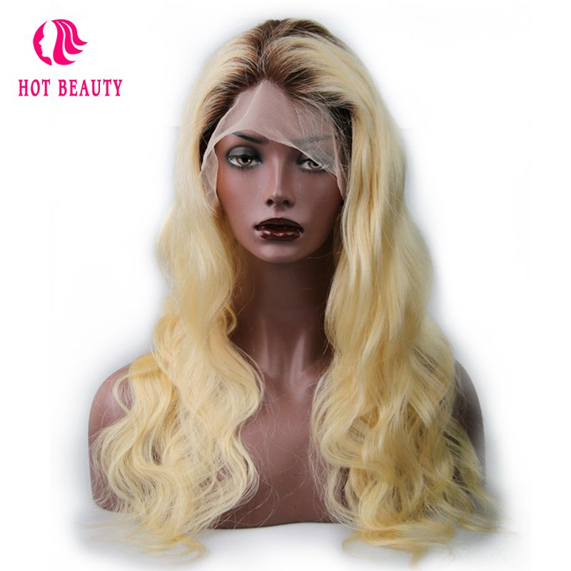Hot Beauty Hair Full Lace Human Hair Wigs With Baby Hair Brazilian Body Wave Remy Hair T4/613 Blonde Color 18 24 Inch Lace Wigs