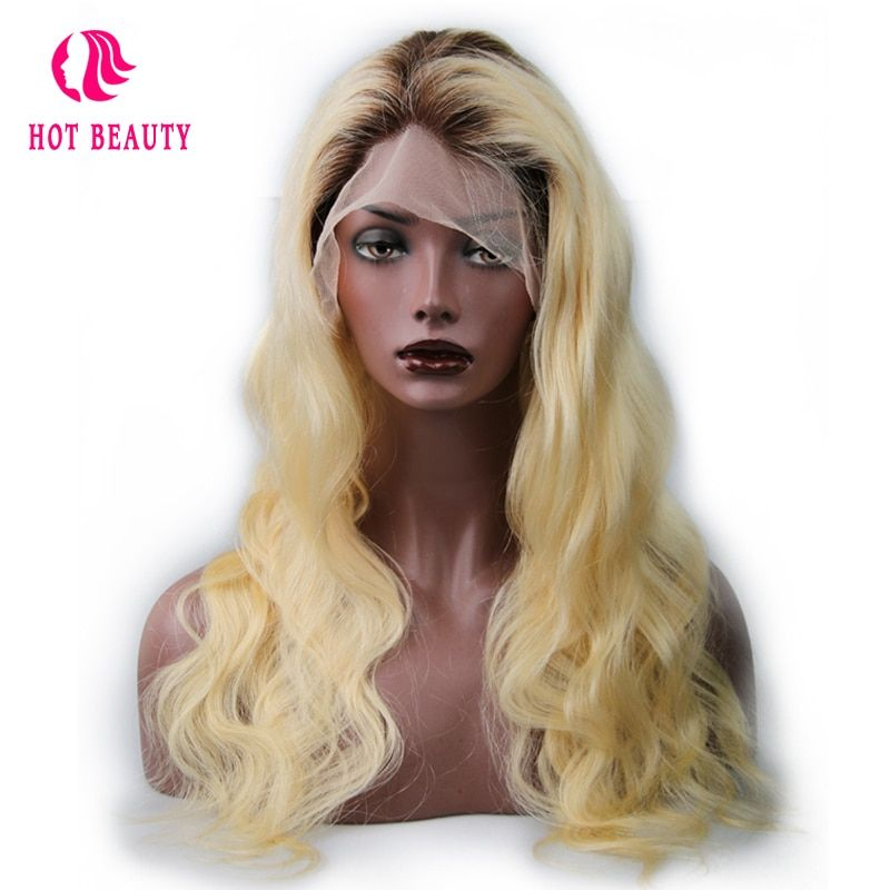 Hot Beauty Hair T4/613 Blonde Color 18 24 inch Brazilian Body Wave Remy Hair Full Lace Wigs Hand Made Human Hair Wig