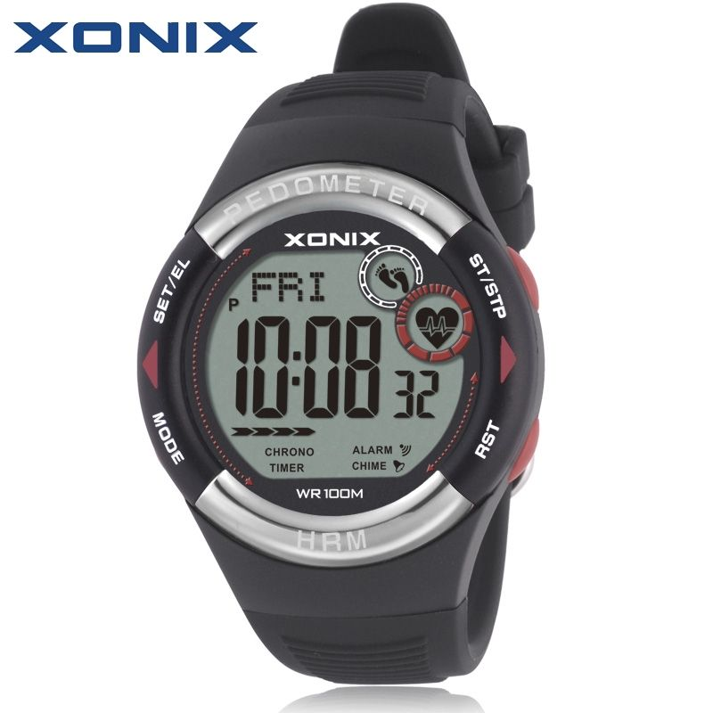 XONIX Pedometer Heart Rate Monitor Calories BMI Men Sports Watches Waterproof 100m Women Digital Watch Running Diving Wristwatch
