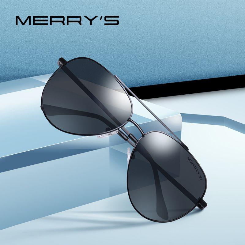 MERRYS DESIGN hommes classique lunettes de soleil pilote cadre Aviation HD lunettes de soleil polarisées pour hommes conduite Protection UV400 S8138