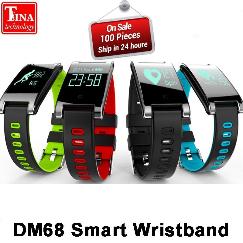 Original Blood Pressure Heart Rate Monitor DM68 PLUS Smart Wristband Bluetooth Fitness Bracelet Call Reminder Activity Tracker