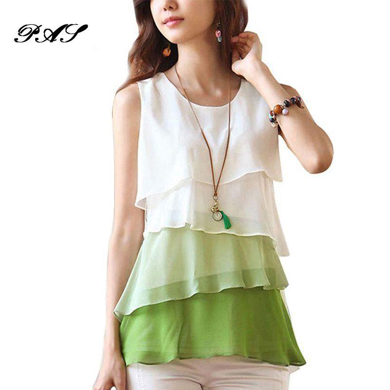 2018 Female Multi-Colors Blouse Shirts Spring Summer Flounce Tiered Tops Round Neck Sleeveless Chiffon Shirt Silk Blouse Women