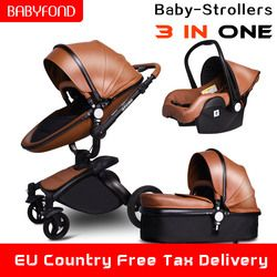 Babyfond Leather stroller luxury baby stroller 3 in 1 folding four wheels kinderwagen baby car child stroller send free gifts