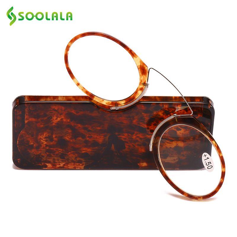 SOOLALA Femmes Hommes Nez Reposant TR90 lunettes de lecture + 1.0 à 3.5 Nez Reposant Pincement porte-monnaie portable lunettes de lecture Lunettes