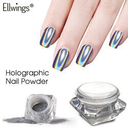 Ellwings Rainbow Mirror Nail Glitter Powder Perfect Shinning Holographic Nails Dust Laser Holo Nails Pigment Silver Decorations