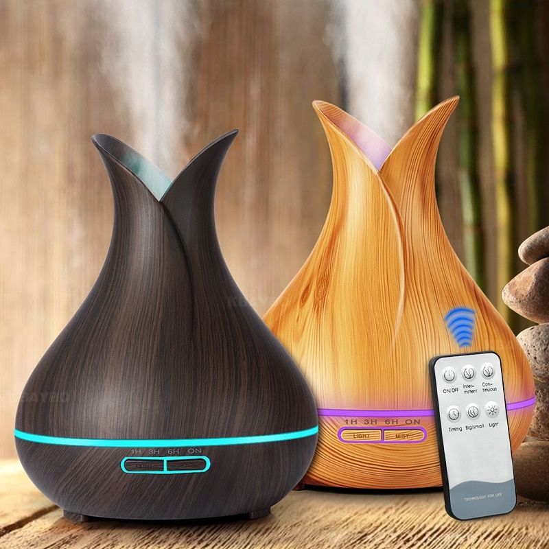 400ml Aroma Air Humidifier Essential Oil Diffuser Wood Aromatherapy Electric Ultrasonic cool Mist Maker for Home Remote Control