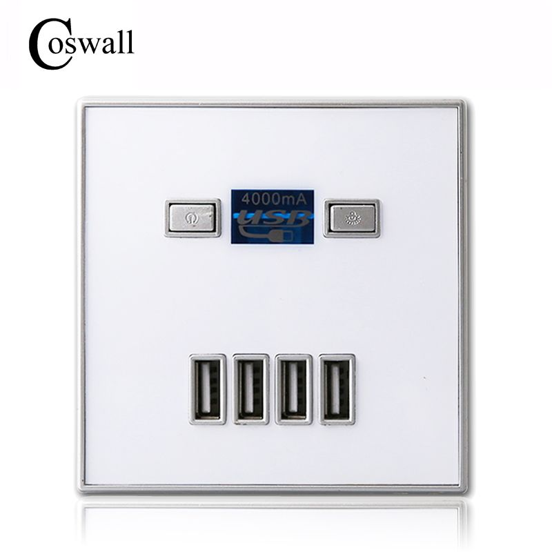 Coswall 2017 New Arrival High Quality 4-PORT quick charger home use wall socket Power Usb Electrical Outlet 86mm * 86mm 4000MA