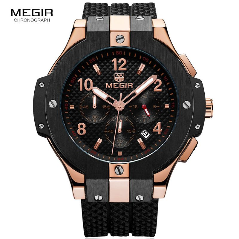 <font><b>Megir</b></font> Men's Chronograph Analogue Quartz Wrist Watches with Silicone Strap 24-hour Display Sports Wristwatch for Boys2050GBK-1N0