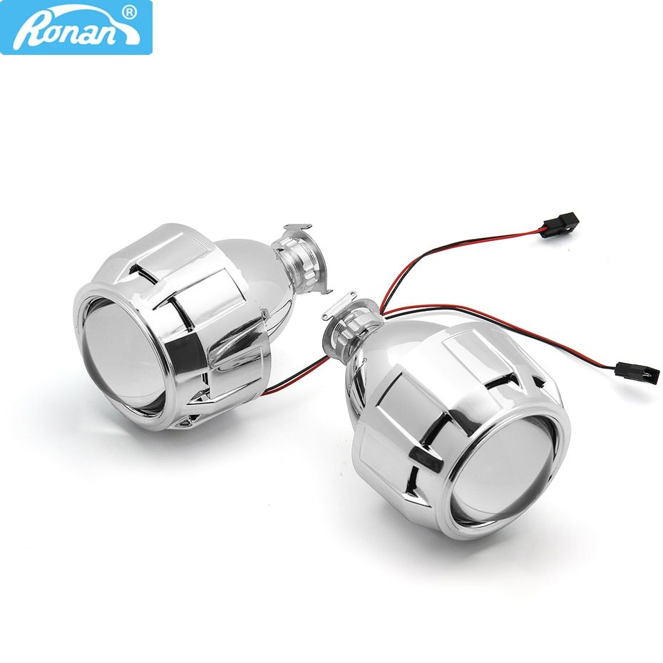 RONAN 2.5 HID Xenon Ultimate Bi xenon projector Lens Parking Car Styling HeadLight DIY Lamp for H1Bulb with shrouds H4 H7 Socket