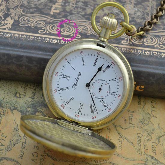 Precio al por mayor de la buena calidad Retro Vintage clásico patrón escudo corto mano cobre reloj de bolsillo mecánico