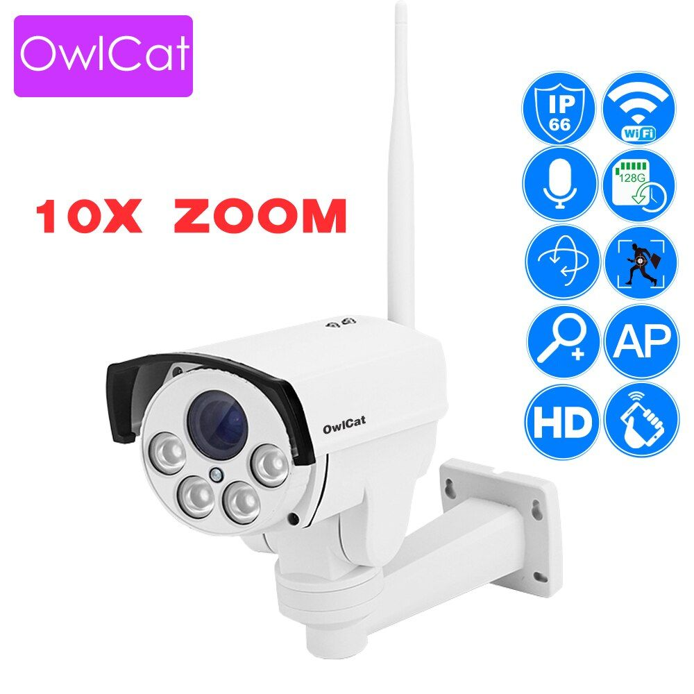 OwlCat Wifi Street IP Camera PTZ Bullet Outdoor 5X 10X Optical Zoom 2MP 1080p Wireless IR Night Onvif SD Card Audio CCTV Camera