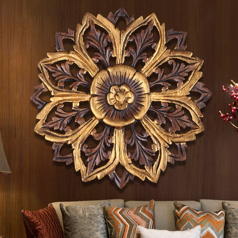 Thai wood carving crafts family living room background wall decorative plate pendant solid carved wall fresco wall decorations