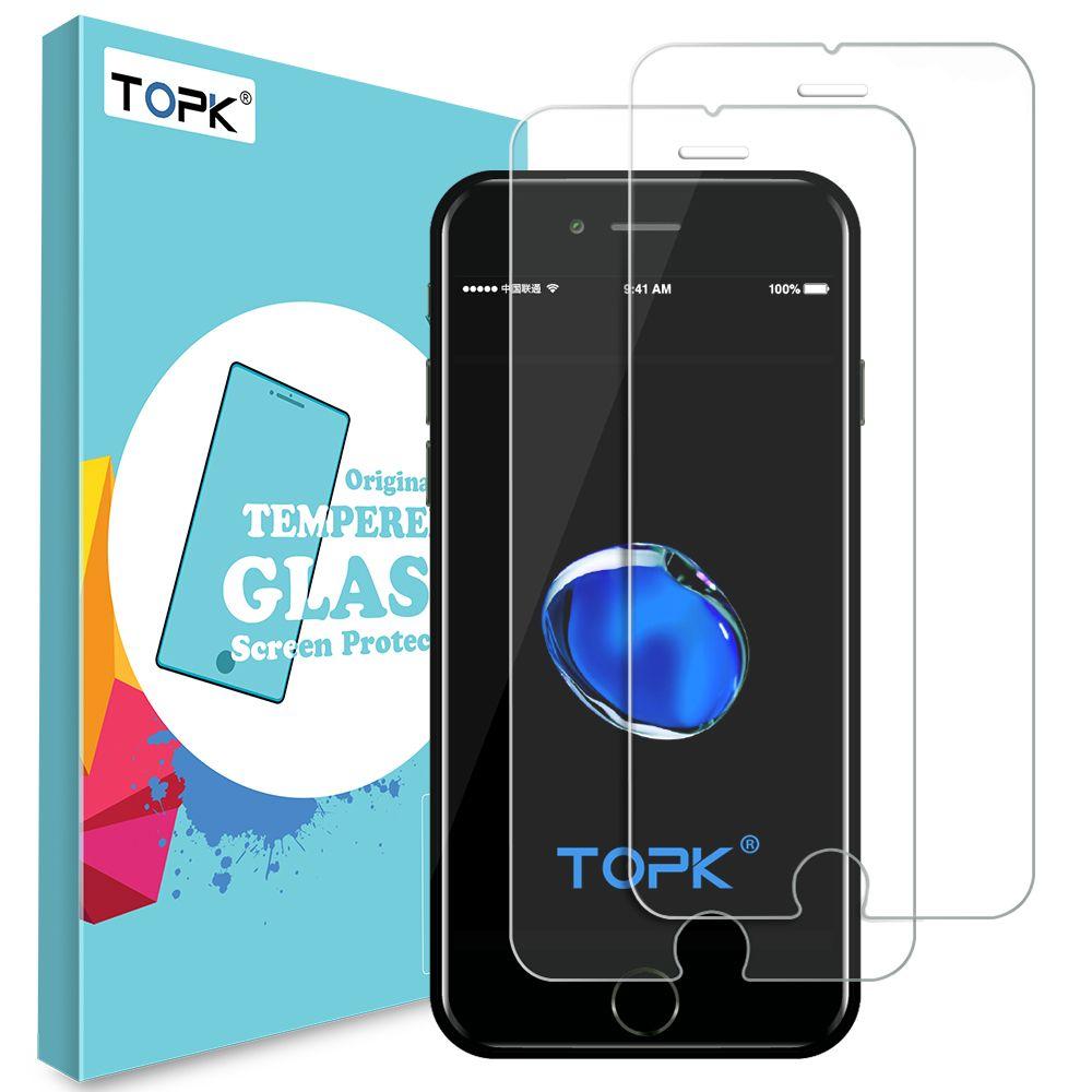 Für iPhone 8 Displayschutzfolie, TOPK HD Klare Schutzfolie 0,26mm Gekrümmten Rand Gehärtetem Glas für iPhone 7 8 Plus