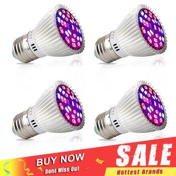 4pcs/Lot Full Spectrum 28W LED Grow Light E27 E14 GU10 SMD5730 Plant Lamp For Seedling Vegs Growth Flower Hydroponic System
