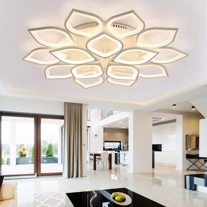 110-220v Aluminum Lotus Led Ceiling Light Plafonnier Led Moderne Living Room Lights Lustres Lamparas Lampara De Techo Sala 23