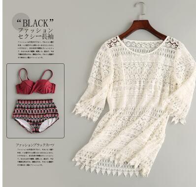 2018 97 9 newest color handmade crochet bikini bandeau bow halter swimwear women Floral bottom swimsuit hot summer