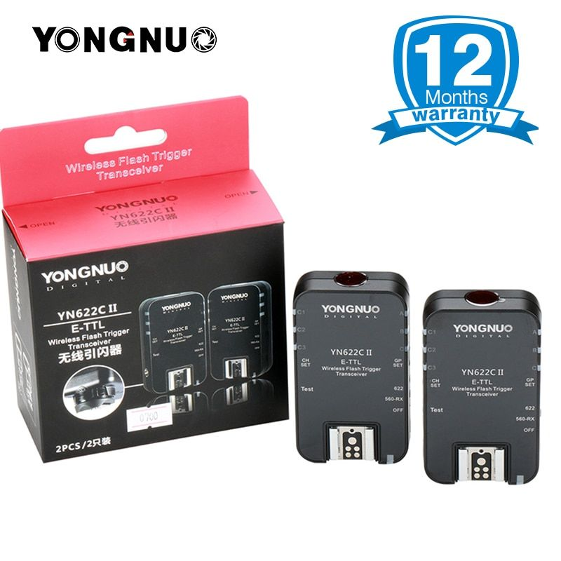 YONGNUO Wireless TTL Flash Trigger YN-622C II/ YN622C-TX High-speed Sync Transceiver for Canon Camera 1000D 650D 600D 7D 5DIII