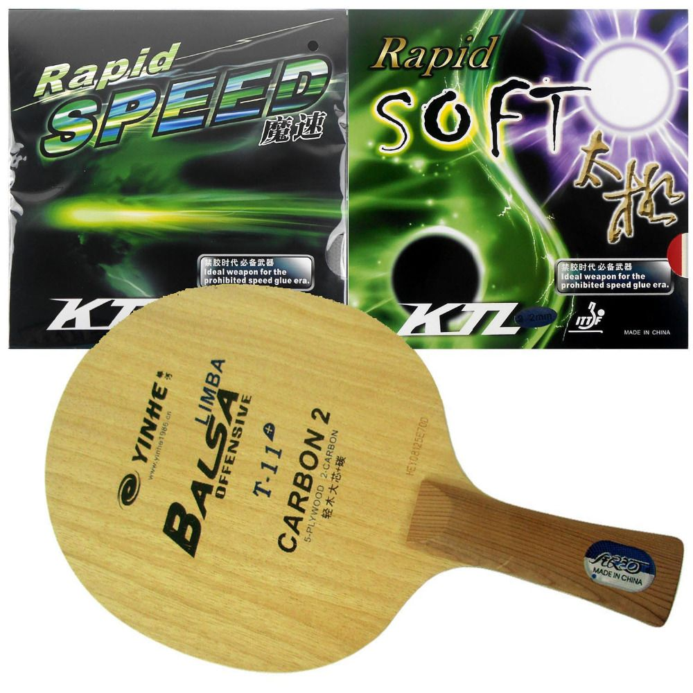 Galaxy T-11+ Table Tennis Blade With KTL Rapid SPEED / Rapid SOFT Rubbers With Sponge for PIngPong Racket FL