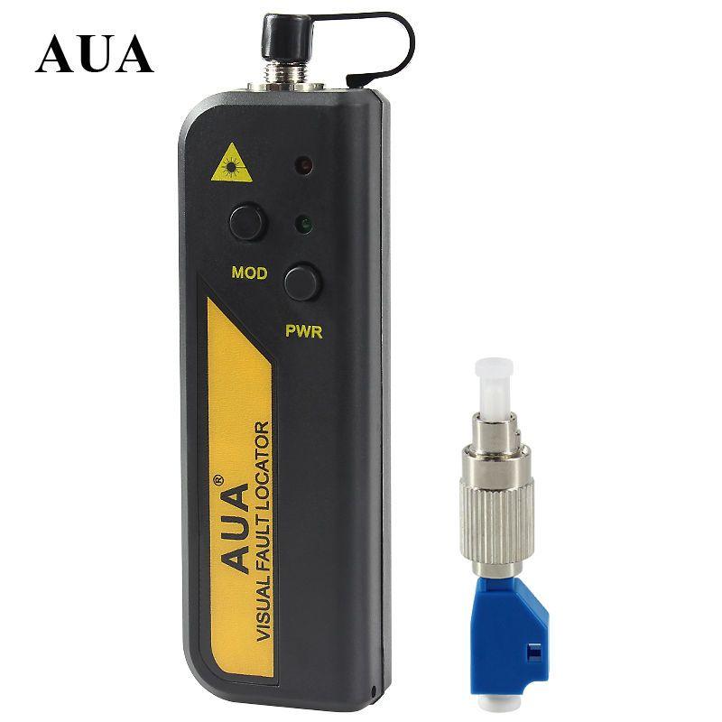 AUA gros prix 10 mw Rouge Laser Lumière Fiber Optique Câble Testeur LC/SC/FC/ST Connecteur câble Laser Optique Testeur De Fiber 10 KM