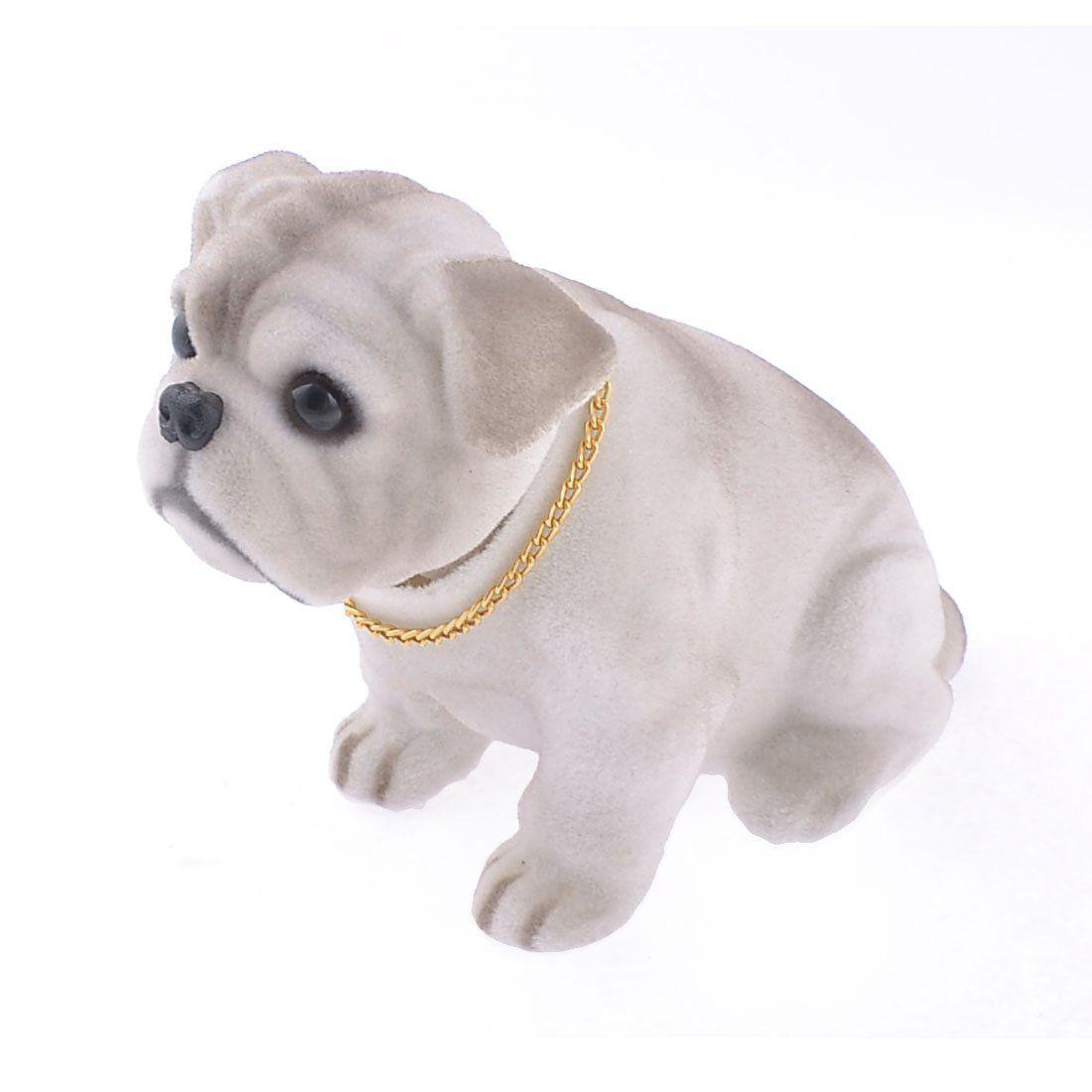 Lovely White Light Gray Shaking Head Nodding Bulldog Dog Decoration for Car