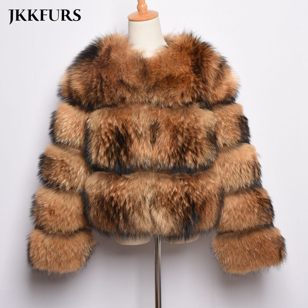 3 Rows Lady's Real Natural Fur Coat Women's Genuine Raccoon Fur Leather Jacket Overcoat Girl's Fur Outwear High Quality S7373