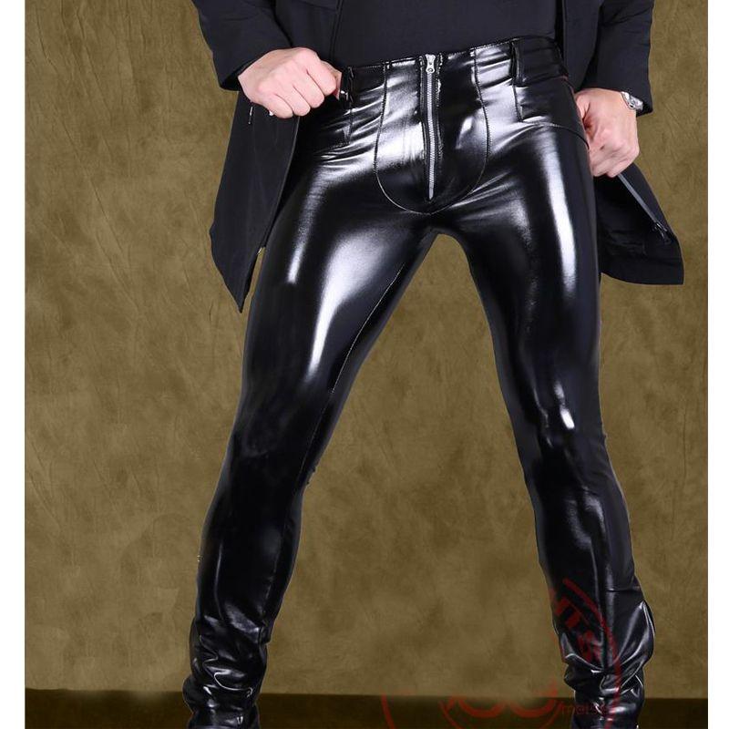 Sexy Männer Hohe Elastische PVC Shiny Bleistift Hosen Kunstleder mode-Punk Hose Reißverschluss Vorder Glossy Bleistift Hosen Homosexuell Tragen F116
