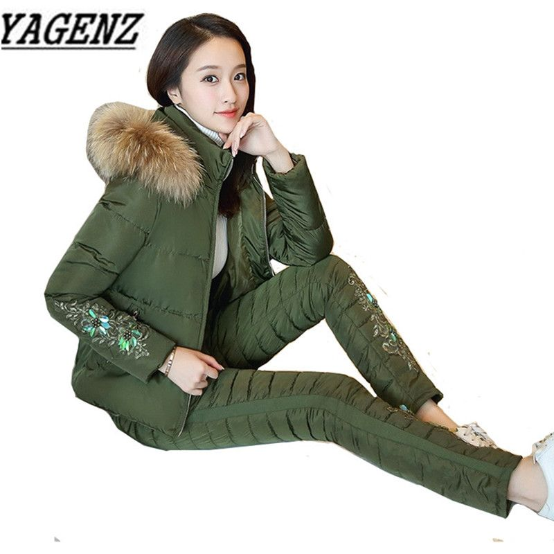 2017 Winter New Casual Women Down cotton Suit Sets Warm Thick Hooded Tops+Trousers 2 piece sets Ladies Winter Clothing Suits