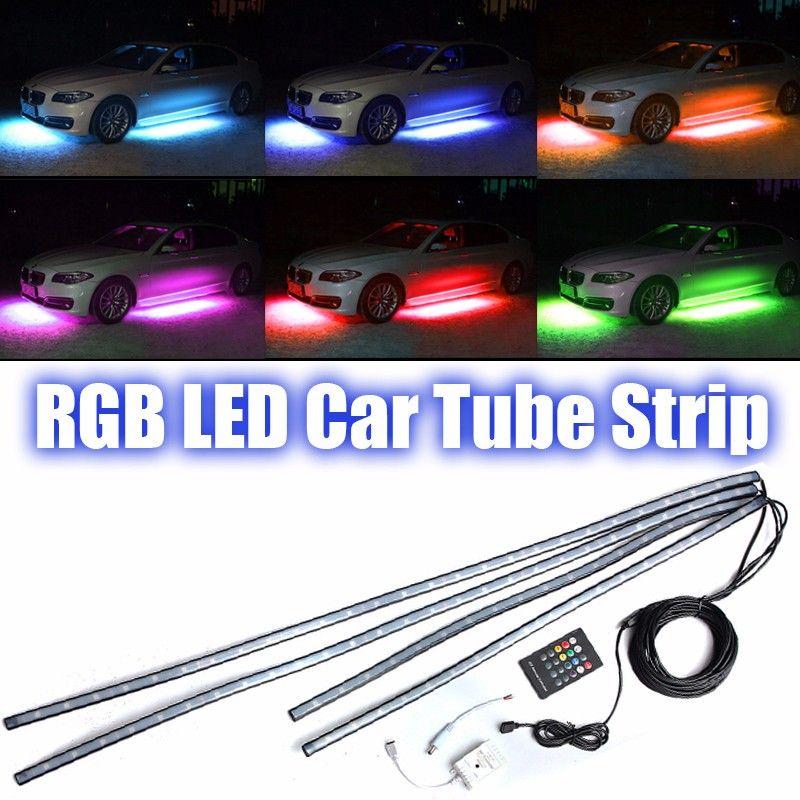 4x36 водить авто RGB декоративные светодиодные полосы автомобиля трубки днища Glow Системы неоновый свет комплект атмосфера лампа + пульт DC 12 В