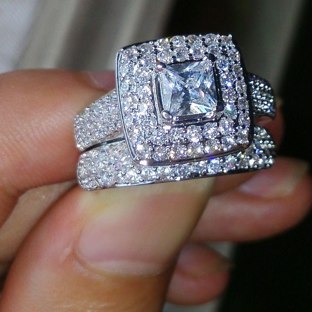 choucong Wieck Nice Jewelry 134pcs Shining AAA CZ Zirconia 14KT White Gold Filled Wedding Ring Set Size5-11 Free shipping gift