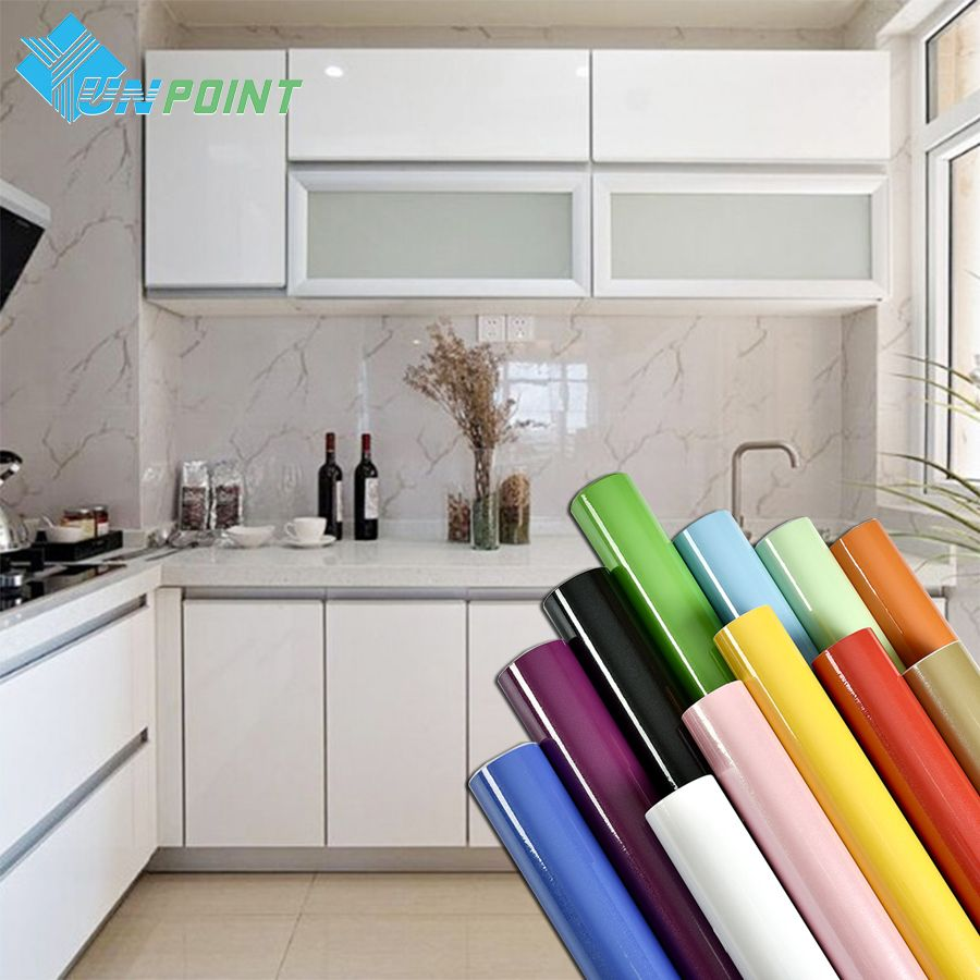 Pearl White DIY Decorative Film PVC Self adhesive Wall paper Furniture Renovation <font><b>Stickers</b></font> Kitchen Cabinet Waterproof Wallpaper