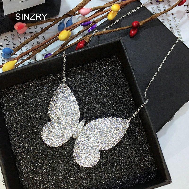 Sinzry бренд микро проложили фианит подвеска ясно белая бабочка Блестящий ожерелье-ошейник для женщин