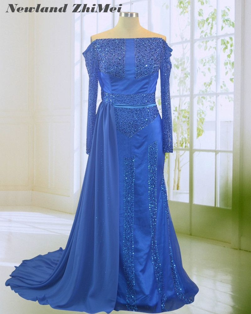 New Blue Arabic Long Sleeve Evening Dress 2018 Stunning Sequin Beading Ribbon Chiffon Tulle Boat Neck Woman Prom Party Gowns