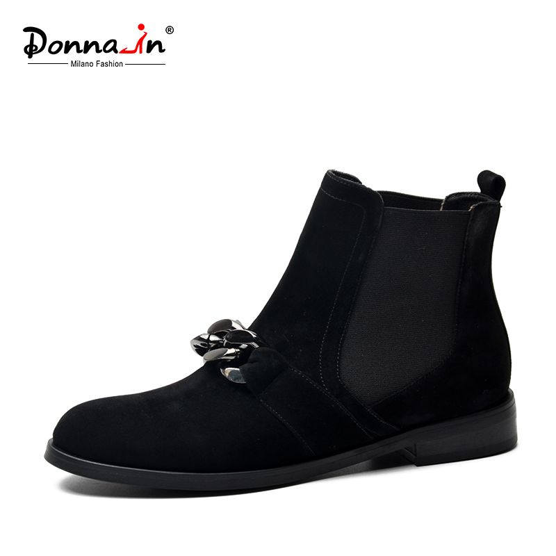 Donna-dans femmes bottes en cuir véritable naturel en daim cheville bottes bas talons Chelsea bottes chaînes en métal de mode printemps dames chaussures